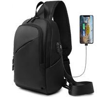 Mens Black Sling Backpack Oxford cloth Waterproof Crossbody Bag USB Port Outdoor