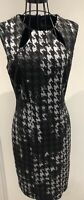 Elegant FRANK LYMAN Black Grey Sequins Dogstooth Pencil Illusion Dress UK 8