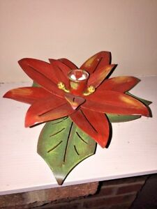 PIER ONE POINSETTIA Metal CANDLE HOLDER CHRISTMAS Decor Candelabra Fits Yankee