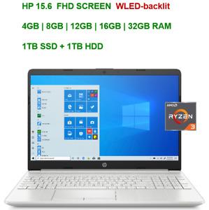 "2021 HP 15.6"" Screen AMD Ryzen 3 3250U, up to 3.5GHz,32GB RAM  & 1TB SSD+1TB HDD"