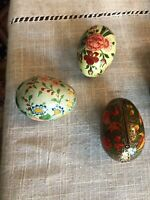 Vintage Set Of 3Hand Painted Paper Mache Lacquered Solid Eggs Made in Kashmir