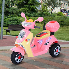 HOMCOM Electric Ride on Toy Car Kids Motorbike Children Battery Tricycle Pink