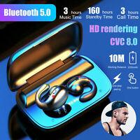 TWS Wireless Bluetooth 5.0 Earbuds Bone Conduction Headsets Mini Stereo Earphone