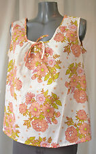 blusa de la tapa DDR Mujer Floral Verano Vintage GDR warco flores M94 46