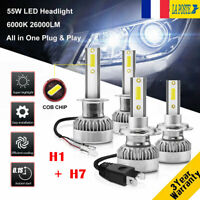 H1&H7 110W 26000LM LED Ampoule Voiture Feux Lampe Kit Phare Xenon 6000K 2 Paires
