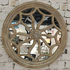 Round Wood Wall Mirror 76cm /Grey Wash Timber/Hamptons French Provincial