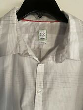 Calvin Klein BOYS L/S Button Down Shirt Fine Line Plaid Size XL 18/20 Slim Fit