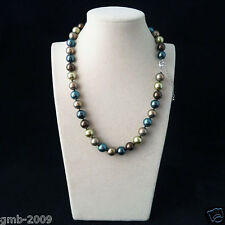 """Handmade 10mm Real Green Coffee Blue Round South Sea Shell Pearl Necklace 18""""AAA"""