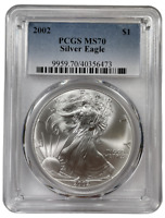 2002 American Silver Eagle PCGS MS70 Better Date One Ounce Registry Set Grade