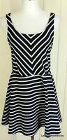 Bethany Mota L Black & White Striped Stretch Knit Mini Tank Skater Dress