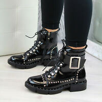 New Womens Biker Ankle Boots Studs Buckle Lace Up Chunky Heel Zip Shoes Sizes
