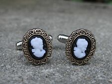 Lady Cameo Cufflinks--Vintage Antique Victorian Black and White Classy Formal