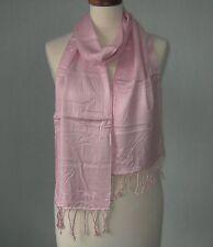 schicker Damen Schal rosa mit Fransen  195 x 21 cm    Neu