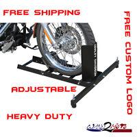 Motorcycle Stand Wheel Chock Trailer Stop Chopper Garage Storage Tie Down Strap