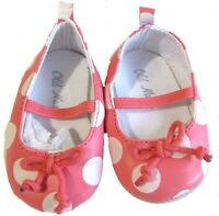 Old Navy Dress Shoes Coral White Crib Girls Baby 12-18 Months Ankle Strap
