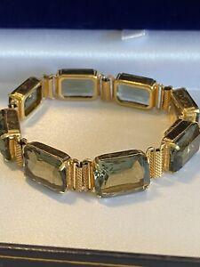 Fabulous Vintage 1960s Gold Tone & Smoky Grey Gemstone Bracelet.