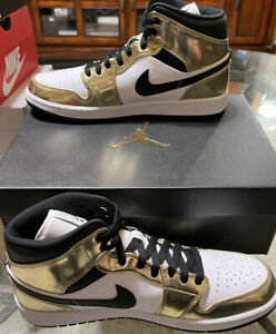 Jordan 1 Mid SE Metallic Gold 2020 Size 10.5 Brand New