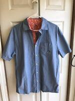VTG Men's Disney Parks Mickey Mouse Button Down Shirt Blue Pocket S/S Sz Medium