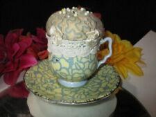 CUP SAUCER ROYAL STAFFORD MARINA ART CRAFT HATPIN PIN CUSHION SEWER'S GIFT
