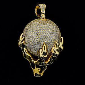 14k Yellow Gold Over Hip Hop Rapper Psychic Reader World Sim Diamond pendant