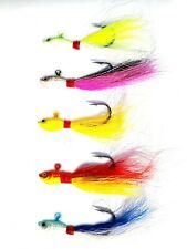 USA LOT OF 5 NEW 1 Oz. BUCKTAIL JIGS Offshore Fishing for Striped Bass Flounder