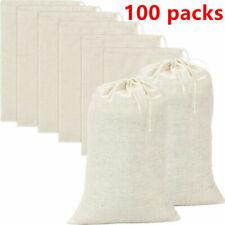 100 Pack Cotton Muslin White Drawstring Bags Large Bulk Herbs Tea Spice Bag