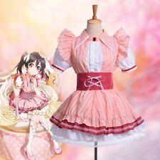 Anime Love Live Nico Yazawa Cake Dress Girl's Pink Strips Dress Cosplay Costume