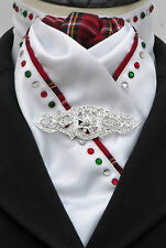 Ready Tied White & Red Tartan Hunt Dressage Riding Stock, Diamantes & Celtic Pin