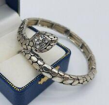 Snake bracelet silver tone diamante elastic stretch
