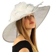 """Scarlet Kentucky Derby Floppy Rose Floral 7"""" Wide Brim Organza Church Hat"""