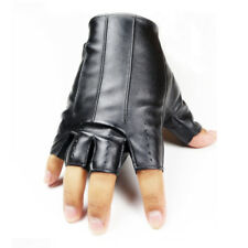 1Pair Men Women Short Leather Gloves Half Finger Fingerless Dance Stage Driving