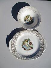 4 Pcs Limoges Triumph Serenade 22 K Gold Serving Platter / Veg Bowl/ 2 B B Plate