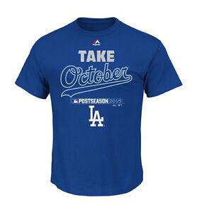"LA Dodgers Men's Authentic Collection Post Season ""Take October"" T-Shirt - Blue"