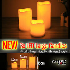 3pcs Large LED Flameless Candles Light Battery Operated Safe Include Battery
