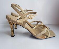 Next Women's Sandals Strappy Heels Gold Glitter Heel Details Diamond Shine 5/ 38