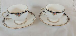 Pair of Wedgwood Osborne leigh shaped Cups and Saucers