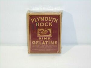 Vintage 1940s Plymouth Rock Pink Gelatine Box with Contents Collectible 1.5 oz.