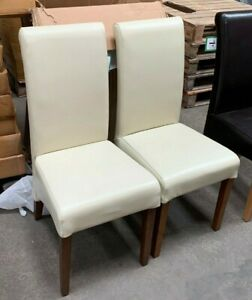 Cream Leather Rollback Dining Chair (SL369)