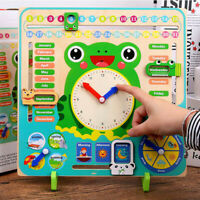 Wooden Calendar Educational Weather Season Kids Baby Clock Early Learning Toys