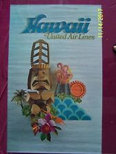 """Vintage 1971 United Airlines HAWAII TIKI 25"""" x 40"""" Travel Poster VF"""