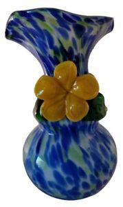 Stevens & Williams Style Spatter Design Blue White Glass Vase Yellow Flower