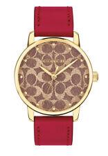 Entrenador De Mujer Grand 36mm Oro Cuadrante Reloj Correa De Cuero Rojo 14503408