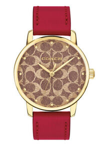 Coach Women's Grand 36mm Gold Dial Red Leather Strap Watch 14503408