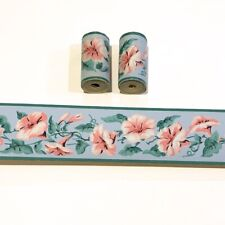 1950s Vintage Wallpaper Trimz Borders, 3 Rolls Pink Blue Morning Glory Flowers