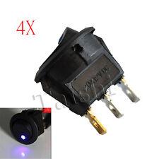 4X KFZ WIPPSCHALTER RUND 12V 12 VOLT SCHALTER EIN/AUS MIT BLAU LED BELEUCHTET