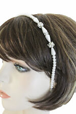 Women Cream Imitation Pearl Beads Bridal Wedding HeadBand Hair Fashion Jewelry