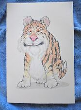 Original colored pencil drawing  Cartoonish Tiger