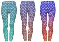 Mermaid Leggings Women's Printed Soft Warm Fish Scale Skinny Yoga Pants 8-16 UK