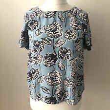 White Stuff Blau weiss Bold Blumen Bluse Größe 10 Schlüsselloch Rückseite Kurzärmeliges