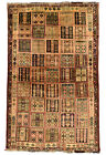 Vintage Tribal Oriental Qashqai Rug, 4'x7', Red, Hand-Knotted Wool Pile